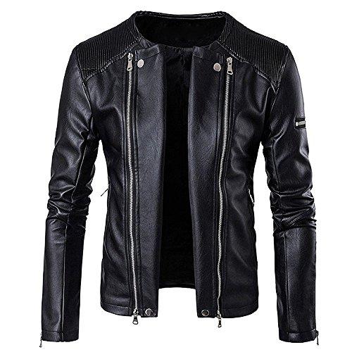 BBring Herren PU Lederjacke, Mode Herbst & Winter Stehkragen BikerJacket Motorradjacke Reißverschluss Outwear Warm Mantel (M, Schwarz) - 3