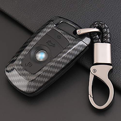 ontto Key Fob Cover Carbon Fiber Texture Car Key Shell Silicone case with Keychain Remote Key Protector Fit for BMW 1 3 5 7 Series X3 X4 X5 X6 (Black)