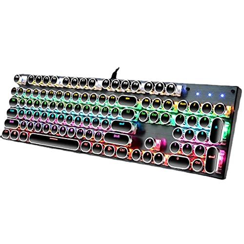MTFZD Tastiera Meccanica, Giochi Luminosi di Gioco RGB. ASSE Blu del Computer, Cablato USB Tastiera Adatta per Computer, PC Giochi E Giocatori Professionali (Color : Black)