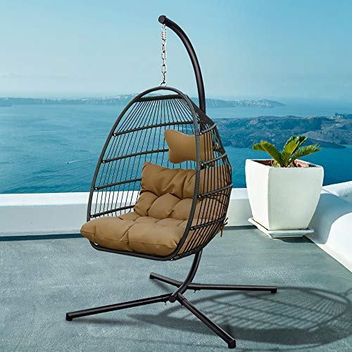Jintao Rattan Swing Egg Chair, Stainless Steel Frame Swing Chair in Door Outdoor Hanging Egg Chair Patio Wicker Hanging Chair Hanging Egg Chair with Stand 265LBS Capacity (Brown)
