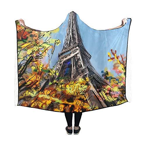 Zemivs Couverture à Capuche Street Paris Couverture 60x50 Pouces Comfotable Wrap à Capuche