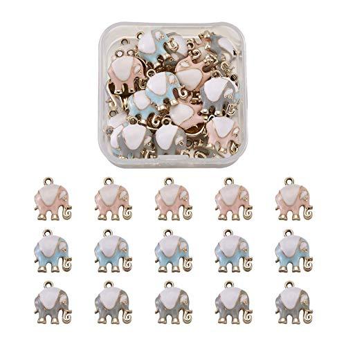 Fashewelry 30 unids/caja de colores mezclados esmalte elefante colgantes metal encanto colgante 17x14.5m para bricolaje artesanía joyería