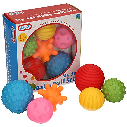A to Z 61017 My First Baby Multi Textured Sensory Soft Balls, multicol