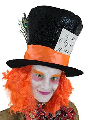 I LOVE FANCY DRESS LTD Cappellaio Matto Cappello Accessorio Vestito Cappello con Arancione Capelli E Piuma Pavone Crazy Story Personaggio Libro Book Week Alice nel Paese delle Meraviglie