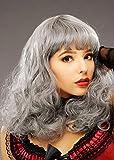 Magic Box Peluca rizada Gris para Mujer de Burlesque Showgirl Deluxe