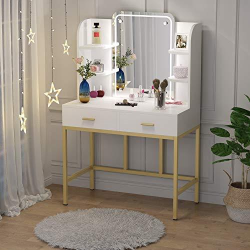 Tribesigns Led Schminktische mit schubladen Schlafzimmertische mit Spiegel für mädchen,frisiertisch aus Holz,PS ennthält Keine Stühle
