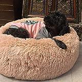 SNFHL Funda Extraíble Soft Dog Bed, Cojín Extra Grande de Piel Artificial para Perros, Almohada para Sofá Cama para Mascotas,XL-Beige