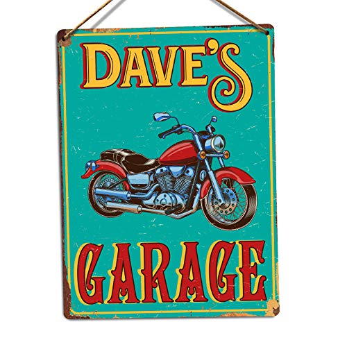 Personalised Motorbike Garage - Custom Name – Medium Twine   Printed Metal Wall Sign Plaque