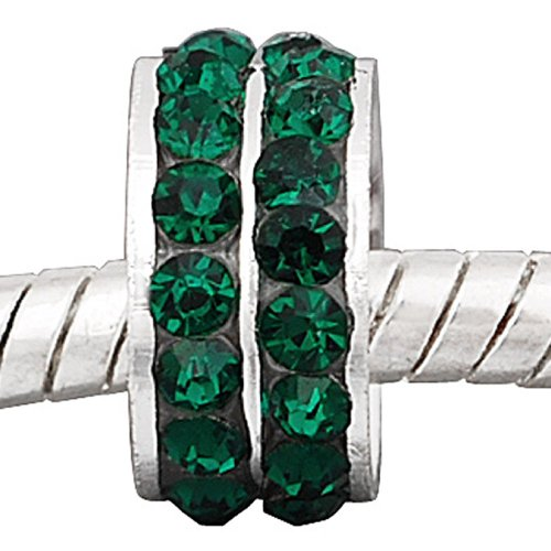 Sexy Sparkles Women's May Birthstone Color Emerald Green Color Cubic Zirconia RondelleBead Charm
