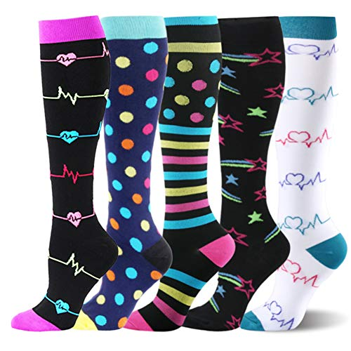 Kompressionsstrümpfe Sneaker Socken Herren Damen Laufsocken Sprunggelenkschutz und Mittelfußstütze für Laufen Radfahren Erholung Blutzirkulation, 5 Paar- B Mehrfarbig, S-M