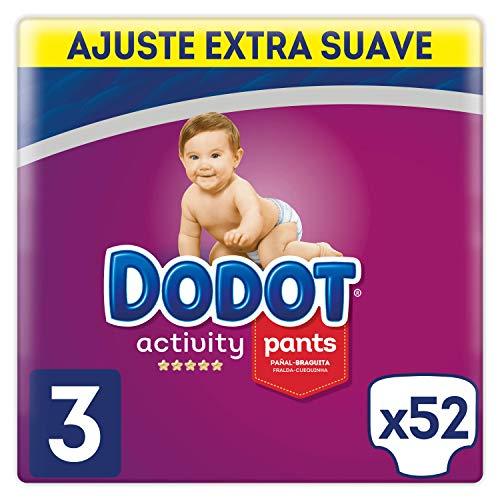 DODOT Activity Pants Pañal-Braguita Talla 3, 52 Pañales, Fácil De Cambiar Con Canales De Aire, 6kg-11kg
