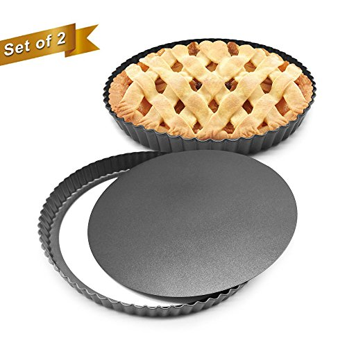 """HOMOW 11 inch Heavy Duty Nonstick Pizza Pan, Quiche Pan With Removable Bottom, Removable Loose Bottom Quiche Pan, Tart Pie Pan 11""""X1""""(2PCS)"""