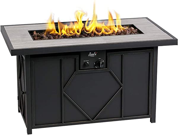 BALI OUTDOORS Fire Pit Propane Gas FirePit Table Rectangular Tabletop 42in 60 000BTU
