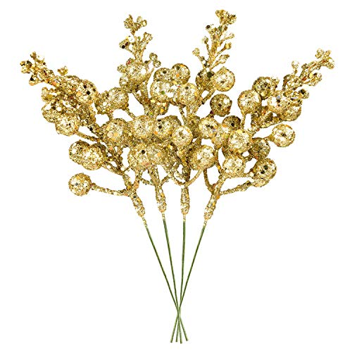 DearHouse 14 Pack Christmas Glitter Berries Stems, 7.8Inch Artificial Christmas Picks for Christmas Tree Ornaments, DIY Xmas Wreath, Crafts, Holiday and Home Decor (Gold)