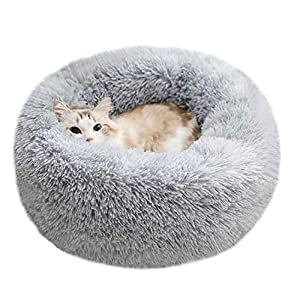 "BODISEINT Modern Soft Plush Round Pet Bed for Cats or Small Dogs, Mini Medium Sized Dog Cat Bed Self Warming Autumn Winter Indoor Snooze Sleeping Cozy Kitty Teddy Kennel (M(23.6""Dx7.9 H), Light Grey)"