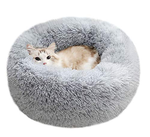 BODISEINT Modern Soft Plush Round Pet Bed for Cats or Small Dogs, Mini Medium Sized Dog Cat Bed Self...