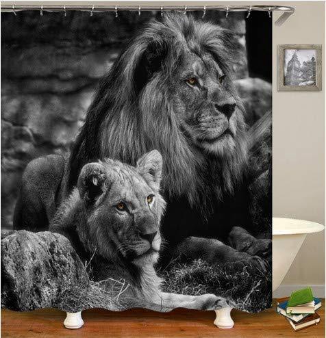 fptcustom Print 3D Lion Animal Cortinas de Ducha Mamparas de baño Cortinas Impermeables para decoración de baño 180X200Cm con Gancho