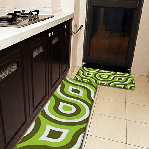 2 Pieces Kitchen Rugs and Mat,Funky Wild Circle Retro Pattern Lime Green White Kitchen Mat Non Slip Soft Soft Doormat Absorbent Runner Carpet Set for Kitchen,Floor,Bathroom,Sink,Laundry,Office