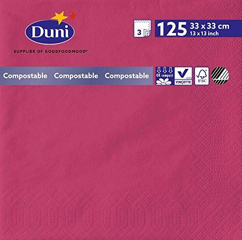 Duni 165529 3 plis Serviettes en papier, 33 cm x 33 cm, fuchsia (lot de 1000)