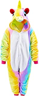 Pijamas de Unicornio Ropa de Dormir de Franela Animal Character Sleepwear, Fancy Dress Up para Playsuit Ropa