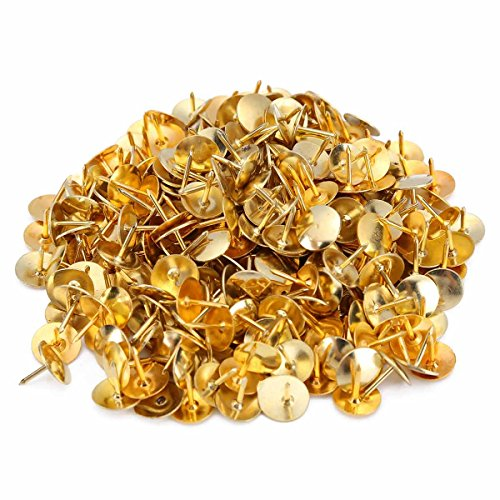 600 PCS Upholstery Tacks Nail Push Pins with Round flat Head for Decoration Gold, 3/8 Inch Head