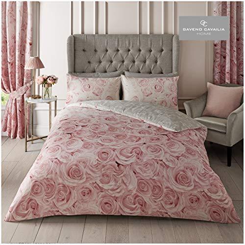 Gaveno Cavailia Peony Flowers Bellerose Double Duvet Set Pink Bedding, 3 Piece Cotton Blend Reversible Floral Bedlinen, Easy Care Bedset, 1 Quilt Cover + 2 Pillow Cases