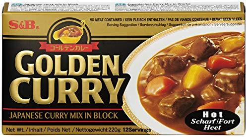 S&B Golden Curry scharf – Japanische Gewürzmischung zur Zubereitung von Curry-Gerichten – 220 g
