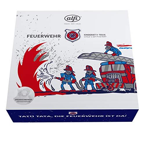 alfi 5377.169.560 Besteckset inkl. Trinkflasche elementBottle II, Edelstahl Feuerwehr Blau 0,6 l, 5tlg., Kinder-Set, Spülmaschinenfest, BPA-Free