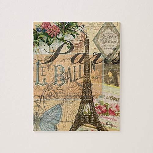 CICIDI Paris France Vintage Travel Collage Jigsaw Puzzle 1000 Pieces for Adults, Entertainment DIY Toys for Creative Gift Home Decor