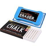 Huntz Non-Toxic White Dustless Chalk (12 ct Box) / Premium Microfiber Eraser (Washable & Reusable)