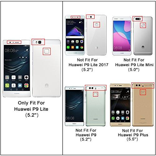 HOOMIL Handyhülle für Huawei P9 Lite Hülle, Premium PU Leder Flip Schutzhülle für Huawei P9 Lite Tasche, Schwarz - 3