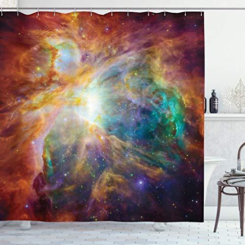 ABAKUHAUS Duschvorhang, Mehrfarbig Weltraum Nebulapartikeln Sternhaufen im Kosmos Universum Galaxie Energievoll Bewegend, Wasser & Blickdicht aus Stoff mit 12 Ringen Schimmel Resistent, 175 X 200 cm