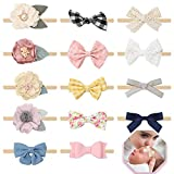 Baby Bows and Headbands for Girls Nylon Flower Baby Hair Accessories Elastic Hair Bands for Newborn...
