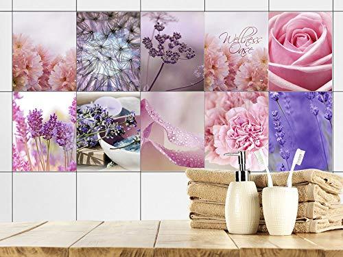 GRAZDesign Fliesenaufkleber Bad 20x25cm Blumen Lavendel Wellness, Fliesensticker Fliesen zum Aufkleben Klebefolie für Badfliesen/Set 10 Stück
