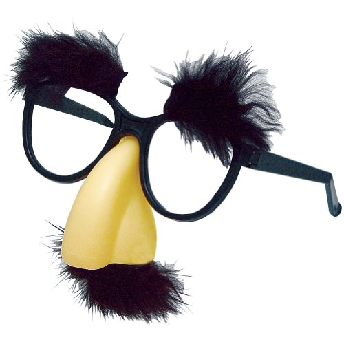 """Joker Classic Fuzzy Nose Disguise Novelty Glasses, Black Beige, One Size 5""""W"""