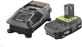 Ryobi P163 18V OnePlus Lithium 2.0Ah Compact Battery and Charger Upgrade Kit includes a P118 Charger and P190 Battery