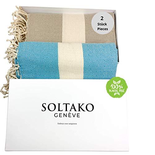 SOLTAKO XXL 2X Fouta Strandtuch Handtuch Saunatuch Badetuch Hamamtuch Yoga Decke Pestemal in Cappuccino & Aqua Farben als 2er Geschenkset extra groß, 100 x 200 cm