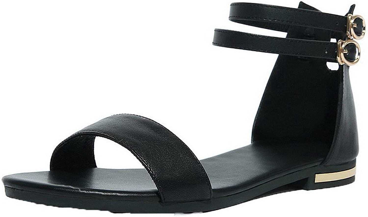 WeenFashion Women's Low-Heels Solid Buckle Pu Open Toe Sandals, CA18LA03313