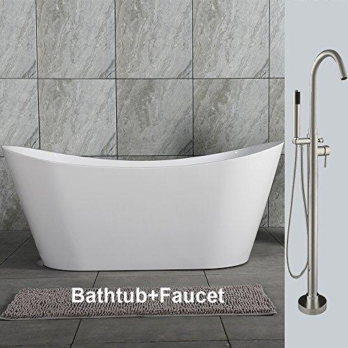 WOODBRIDGE B0011+ F-0001 59' Acrylic Freestanding Bathtub Soaking Tub Brushed Nickel, BTA1516/B0011 +F0001, [B-0011 with Faucet