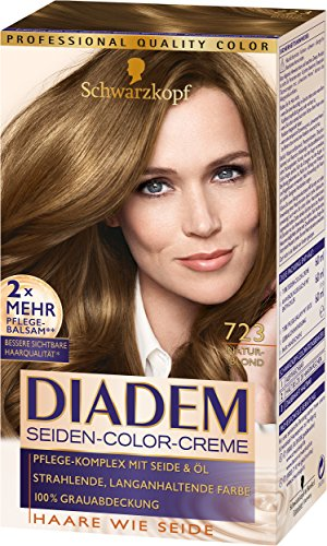 Schwarzkopf Diadem Seiden-Color-Creme, 723 Naturblond Stufe 3, 3er Pack (3 x 180 ml)