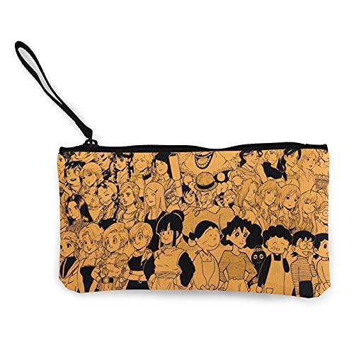 Anime - Monederos de lona para niñas que se pueden utilizar como estuche de viaje para cosméticos y lápices, con cremallera, para estudiantes, hombres y mujeres