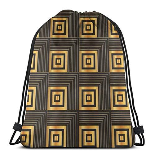 NA Kordelzug-Rucksack, Art-Deco, geometrische Quadrate, schwarz, Sporttasche, tragbarer Sack, Aufbewahrungstasche für Camping, Wandern, Schwimmen, Einkaufen, Wandern, Reisen, Strand