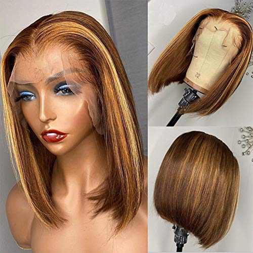 Highlight Short Bob Lace Front Wigs Human Hair with Baby Hair Deep Part 13x6 Lace Front Human Hair Wigs for Black Women Pre Plucked Full Lace Wigs (8 inch, 13x4 Lace Front Wig)
