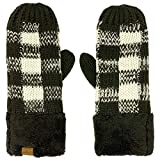 CC Super Thick Fuzzy Fleeced Lined Warm Winter Knitted Mittens Gloves Buffalo Plaid Black/White
