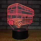 Lámparas de lámpara de noche 3D para niños, autobús de turismo de dos pisos Productos Usb Regalos de dormitorio Lámpara Juguetes Niños Ilusión Acrílico Niños Led Luz de cabecera Decoración