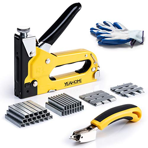 Upholstery Staple Gun Heavy Duty, 4 in 1 Stapler Gun with 6000 Staples, Remover, Gloves, Manual Brad Nailer Power Adjustment Stapler Gun for Wood, Upholstery, Carpentry, Decoration DIY Staple Gun
