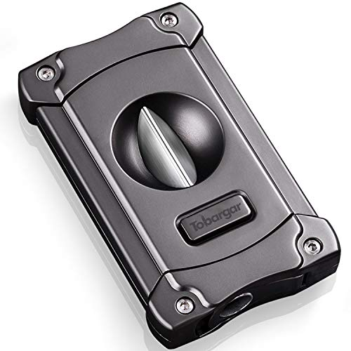 Tobargar Cigar Cutter, Stainless Steel V Cutter Cigar Retro Style with Exquisite Box - Gray