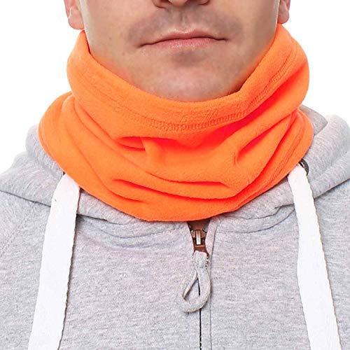 Happy Clothing Herren Schlauchschal aus Fleece mit Kordel, einfarbiger Fleeceschal für Damen und Herren, Farbe Schwarz, Dunkelblau, Grün, Weiß, Grau und Orange, Farbe:Orange, Größe:Einheitsgröße