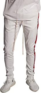 KDNK Men's Tapered Skinny Fit Stretch Drawstring Ankle Zip Striped Track Pants