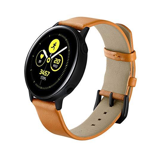 Correas de cuero amarillas compatibles para Samsung Galaxy Watch Active Watch Pulsera Unisex Adulto